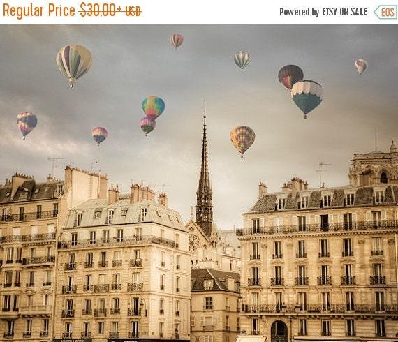 SALE - Ships Aug 27 - Paris Photography, Hot Air Balloons Photo, Romantic Wall Art Dreamy France Print Beige Neutral Colors par22b