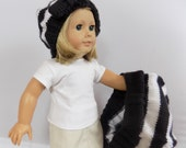 Girl and Doll Matching Hats, Hat Set, Striped Berets, Black and White Beret Hats