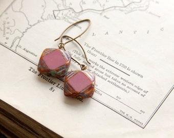 Pink Antique Earrings, Czech Glass Beads, Brass, Neo Vintage Jewelry