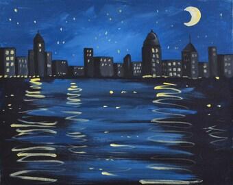 MOONLIGHT MAGIC 16 x 20 acrylic on canvas
