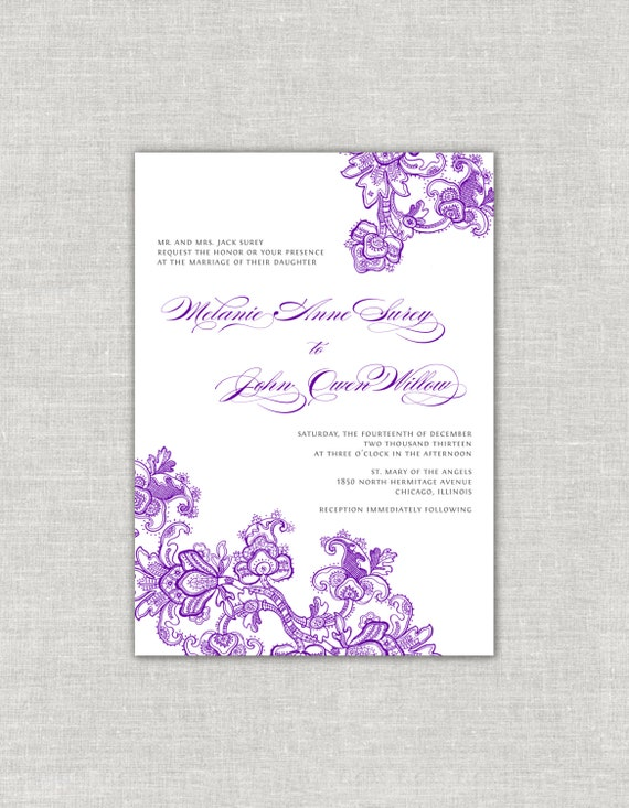 Purple Wedding Invitations Plum Jewel Tone Ornate