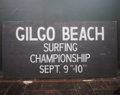 Rare 1964 Gilgo Beach Surfing Champsion Hand Painted Sign. Long Island, Ny  Brooklyn BMT Train Station Sign