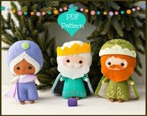 PDF Pattern. Three Wise Men. Three kings: Melchior, Caspar and Balthasar. Christmas Nativity set.