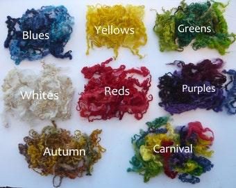Heidifeathers Curly Wool, Hand Dyed, Teeswater Locks