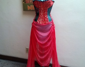 The Red Geisha...vtg90's Red Asian Halloween Corset Costume with Attached Chiffon Skirt...Free Size