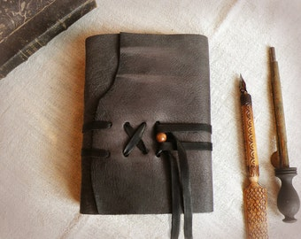 grey leather journal, custom personalized quote, vintage style diary, leather notebook - Sealed Words