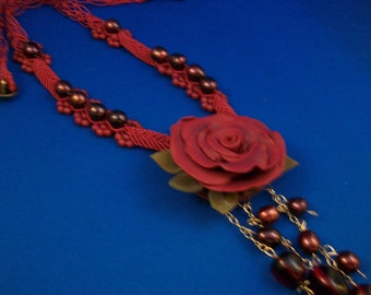 Polymer Clay Rose with Micro-Macrame
