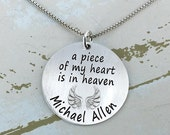 "Christmas is July SALE - Personalized 1"" a piece of my heart is in heaven necklace - Engraved Necklace - Mother Necklace - Personalized Neck"