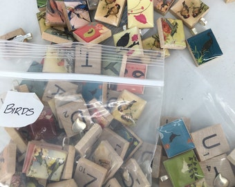 Bags of Birds scrabble tile pendants - Destash Sort  - some with bails and some without - shipped priority mail