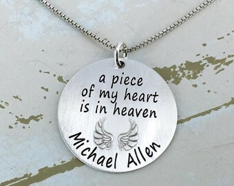 """Christmas is July SALE - Personalized 1"""" a piece of my heart is in heaven necklace - Engraved Necklace - Mother Necklace - Personalized Neck"""