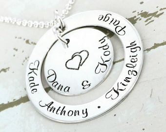 """Personalized 1 1/4"""" double love mother engraved loop necklace - Engraved Necklace - Mother Necklace - Mom Jewelry - Family Necklace"""