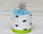 Mini Nautical Diaper Cake, Whale Diaper Cake, Nautical Centerpieces, Whale Baby Shower Decorations, Baby Boy Nautical Shower