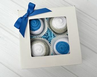 Washcloth Cupcakes, Boy Baby Gift, Creative Gift, Baby Gift Set, Baby Boy Cupcake Gift, New Baby Gift