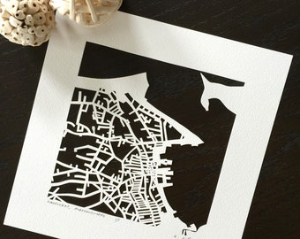 nantucket or newport hand cut map