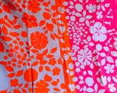 Vintage Fabric - VHY Hawaiian Neon Floral Canvas In Pink and Orange - Almost 3 Yards