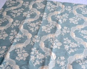 French Embroidered Fabric - Light Blue and White Ribbon Floral - 26 x 27 Sample Size