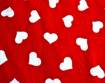 Vintage Fabric - Red and White Hearts - 42 x 36 Cotton