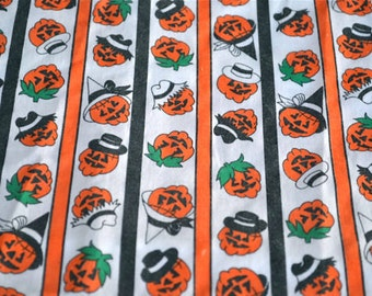 Vintage Halloween Fabric - Jack O Lanterns in Hats - 43 x 43