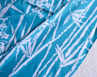 Vintage Fabric - Turquoise Blue and White Bamboo Print - By the Yard