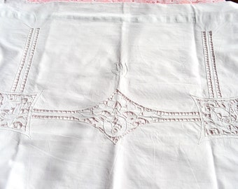 Vintage Antique French Cotton Pillow Shams - Open Embroidery Monogram Pair