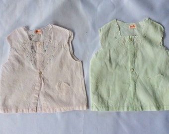 Two Vintage Sleeveless Diaper Shirts