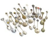 Vintage Souvenir Spoon Lot | 27 Pieces | Repurpose, Craft Supply, Destash, Repair | States, Towns, Cities, Landmarks