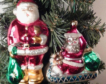 Hand Painted Old World Vintage Glass Christmas Santa's from Poland