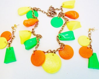 Vintage Neon Lucite  Orange Yellow Lime Green MOD Neon 1960's Pop Art Charms Choker Earrings Rare Estate Jewelry Art Deco Runway Statement