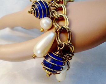 Vintage Atomic Pop Art Charm Bracelet Metal Swirled Caged Blue Beads 1960's Big Teardrop Pearls Mod Modern Geometric Abstract  Statement