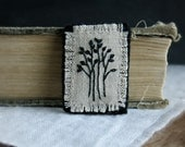 Textile Art Brooch - Black Embroidered Trees on Natural Linen - Textile Art Jewelry