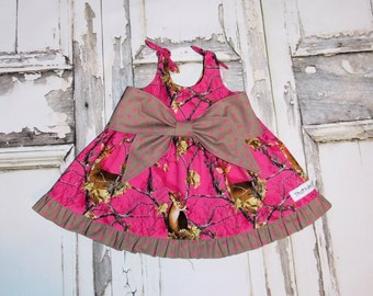 Realtree Camo Pink Big Bow Dress 2 3 4 5 6 7 8 Camouflage Birthday Handmade in USA Deer Country Flower girl Wedding Hunting