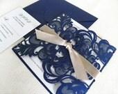 Vintage Navy Blue Lace Laser Cut Wedding Invitation Suite for Glamorous Wedding - Laser Cut Gate Fold, Insert Card, RSVP Card, and Envelopes