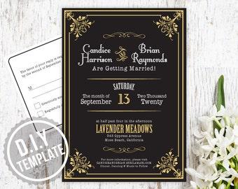 DIY Custom Vintage Gatsby Wedding Invitation with Response Post Card - Customized Printable PDF