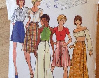 Vintage 1970's Butterick 3687 A-line wrap skirt - size 26.5