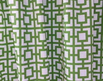 Custom made curtain panels Gigi Kelly green and white geometric