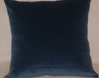RTS indigo blue cotton velvet throw pillow, 20 inches square upholstery cushion