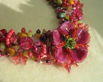 Tropical Flower Fantasy Necklace