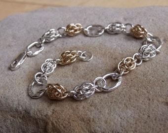 "Sterling Silver and Gold ""Sweetpea"" Bracelet"