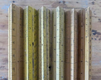 6 vintage rulers Triangle rulers Wood rulers 45 degree set square ruler Instant collection Ruler collection Engineering ruler Drafting ruler