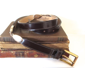 Vintage leather belt Vintage Eddie Bauer belt Thin leather belt Made in USA Dressy leather belt Size 34 leather belt Brass accents Womens