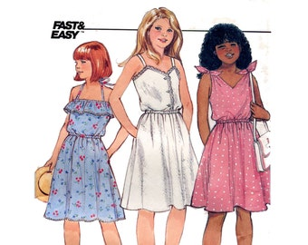 Girls Easy Sundress Pattern Tie On Halter Camisole Summer Dress Flared Skirt Butterick 6574 Size 7 8 10 Vintage Sewing Pattern