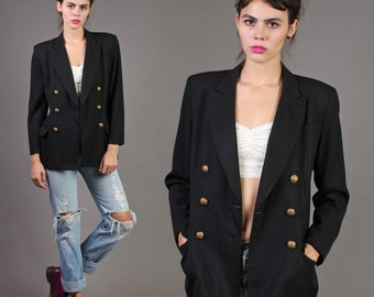 vintage MILITARY ann taylor BOYFRIEND jacket BLAZER double breasted coat 1980s 1990s 80s 90s small S