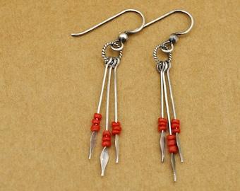 dainty sterling silver earrings - CORAL DROPS - vintage red coral earrings in antiqued sterling silver
