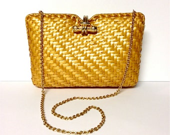 20% Off SALE Coupon Code FAVORITE20 Vintage 1960s Rodo For Bonwit Teller Yellow Wicker Clutch / Shoulder Bag