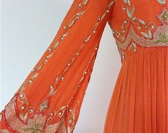 Vintage 1970's Surjit & Adarsh Gill SAZ Beaded Silk Gown From IMagnin