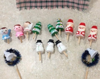 Cupcake toppers candle holders Christmas vintage