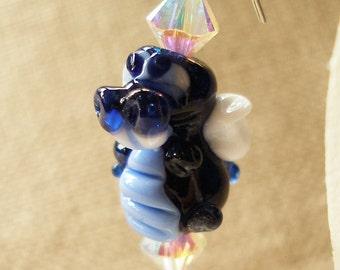 Dragon Earrings, Fantasy Beast Fairytale Earrings Dragon Indigo Blue Night Sky