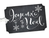 Christmas Gift Tags, Joyeux Noel, French Tags, French Gift Tags, Christmas