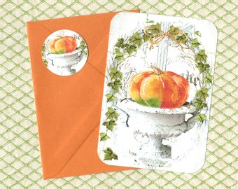 Note Cards, French Urn, French Farmhouse Style, Pumpkin, Flat Note Cards, Stickers