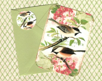 Note Cards, Chickadee, Bird Lover, Florals & Birds, Note Card Set, Stickers, Gift Idea